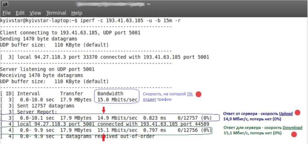 Правильная проверка скорости ошибки Iperf